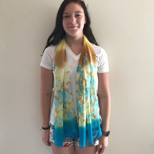 Accessories - New Blue Yellow Teal and light Brown scarf